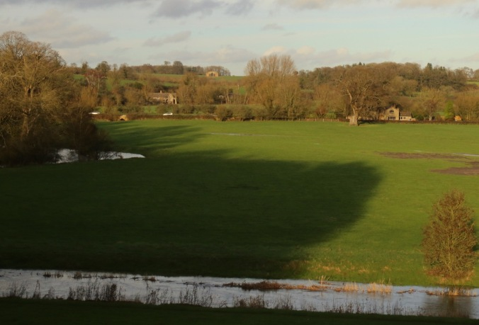 """View over the River Cherwell to the """"Eye Catcher"""" one mile away"""